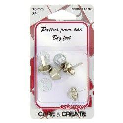 Pieds pour sac (x4 pièces) nickel  - 1Pieds ou patins pour la création de vos sacs en tissus ou en cuir. De couleurnickel