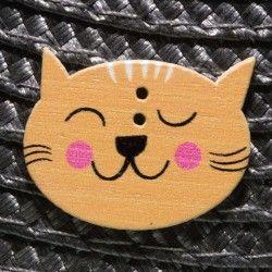 Bouton tête de chat en bois...
