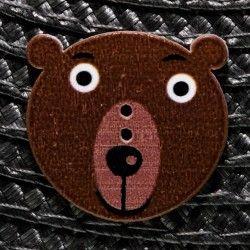 Bouton tête d'ours en bois - marron  - 1Bouton tête d'ours -Marron Plat - 2 trous En Bois Hauteur : 3 cm - Largeur : 2,9 cm Bo