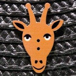 Bouton tête de girafe en bois - orange  - 1Bouton tête degirafe - Orange Plat - 2 trous En Bois Hauteur : 2 cm - Largeur : 2,2