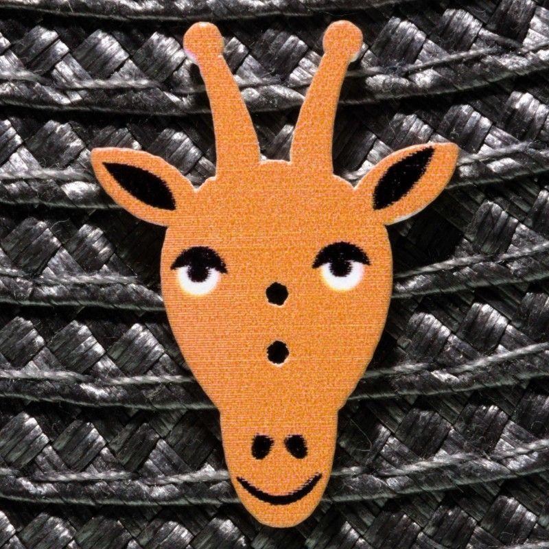 Bouton tête de girafe en bois