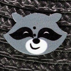 Bouton tête de raton laveur en bois - gris  - 1Bouton tête de raton laveur - gris Plat - 2 trous En Bois Hauteur : 2 cm - Large