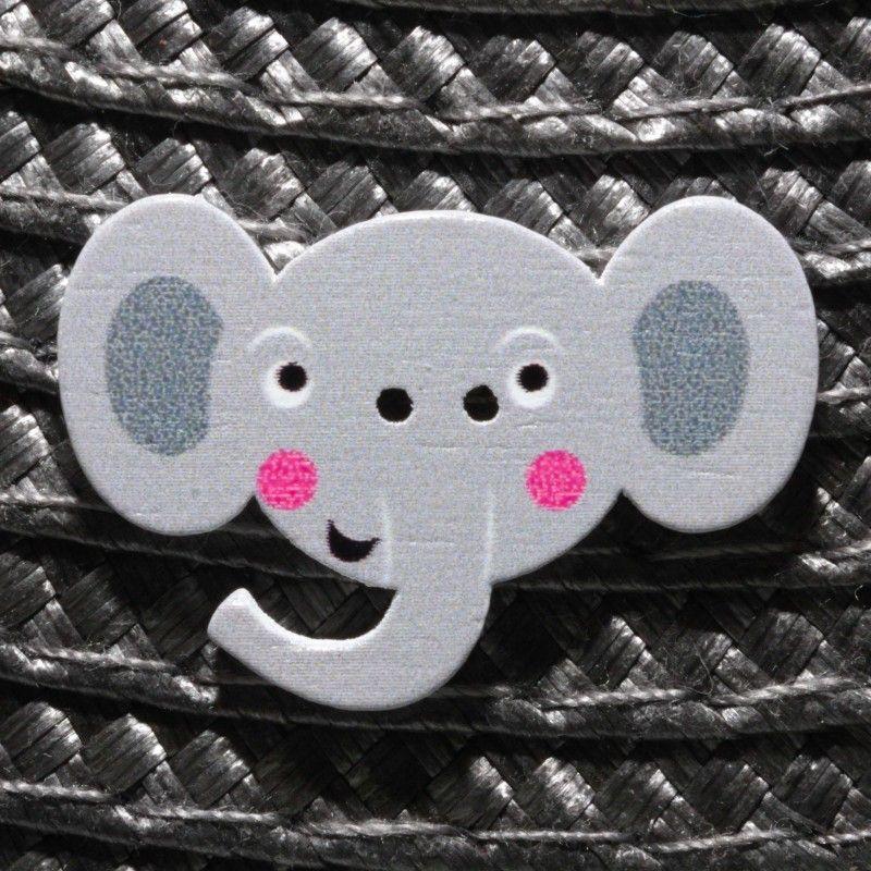 Bouton tête d'éléphant en bois - gris  - 1Bouton tête d' éléphant - gris Plat - 2 trous En Bois Hauteur : 2.1 cm - Largeur : 3.