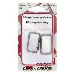Boucles rectangulaires pour sac 30mm graphite