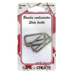 Boucles coulissantes 30mm (x2 pièces) graphite  - 1Boucles coulissantes , de couleur graphite Pour une sangle de 30mm de largeAc