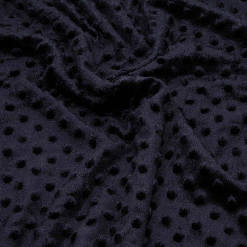 Tissu doudou minkee relief à pois X10cm - marine  - 1Tissu doudou minkee relief à pois -marine 100% polyester Laize d'1m50 Le t