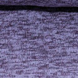 Tissu Sweat Mailles Chinées envers polaire X10cm - Mauve  - 1Tissusweat mailles chinées envers polaire -mauve 100% polyester c