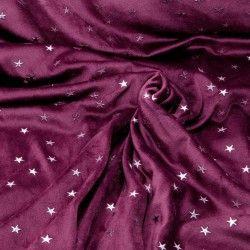 Tissu jersey velours éponge étoiles argentées X10cm - lie de vin  - 1Tissu jersey velours éponge étoiles argentées -lie de vin