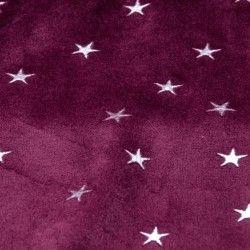 Tissu jersey velours éponge étoiles argentées X10cm - lie de vin  - 3Tissu jersey velours éponge étoiles argentées -lie de vin