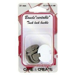 Fermoir boucle cartable 31mm graphite  - 1Fermoir boucle pour sac, cartable de couleur graphite dimension 31mm