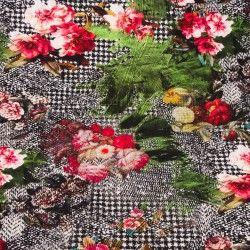 Tissu jersey pied de poule et fleurs X10cm - rose et vert  - 1Tissu jerseypied de poules et fleurs - rose et vert 95% coton - 5