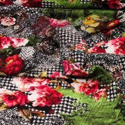 Tissu jersey pied de poule et fleurs X10cm - rose et vert  - 2Tissu jerseypied de poules et fleurs - rose et vert 95% coton - 5