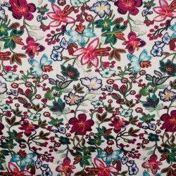 Simili cuir fleurs multicolores X10cm - blanc  - 1Simili cuir ameublement fleurs multicolores -Blanc Raccord : 30cm Laize d'1m40