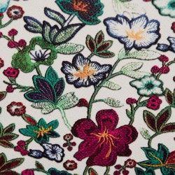 Simili cuir fleurs multicolores X10cm - blanc  - 2Simili cuir ameublement fleurs multicolores -Blanc Raccord : 30cm Laize d'1m40