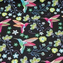 Simili cuir colibris multicolores X10cm - noir  - 1Simili cuir ameublementoiseaux multicolores - Noir  Hauteur du motif: 7,3 c