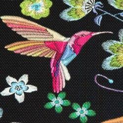 Simili cuir colibris multicolores X10cm - noir  - 2Simili cuir ameublementoiseaux multicolores - Noir  Hauteur du motif: 7,3 c