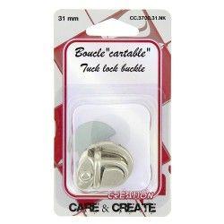 Fermoir boucle cartable 31mm argent  - 1Fermoir boucle pour sac, cartable de couleurargent dimension 31mm
