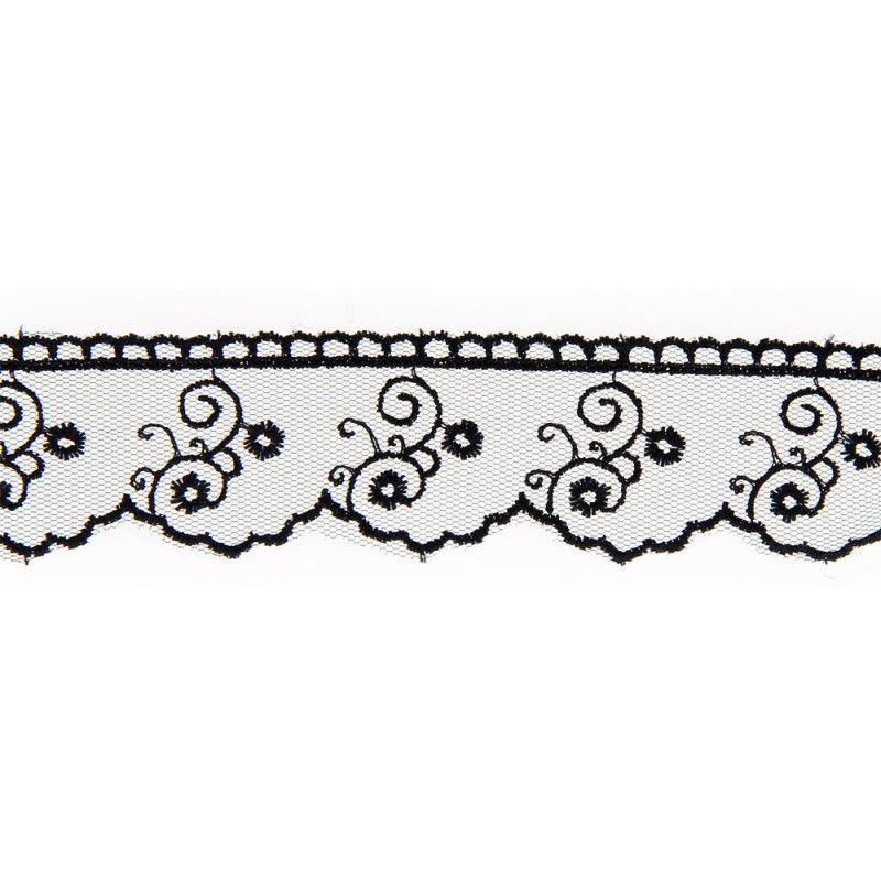 Dentelle Sophia - noir  - 1Dentelle noire polyester , 30mm de large  1 unité = 0m50 ; pour plusieurs longueurs achetées, vous re