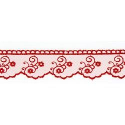 Dentelle Sophia - rouge  - 1Dentelle rouge polyester , 30mm de large  1 unité = 0m50 ; pour plusieurs longueurs achetées, vous r