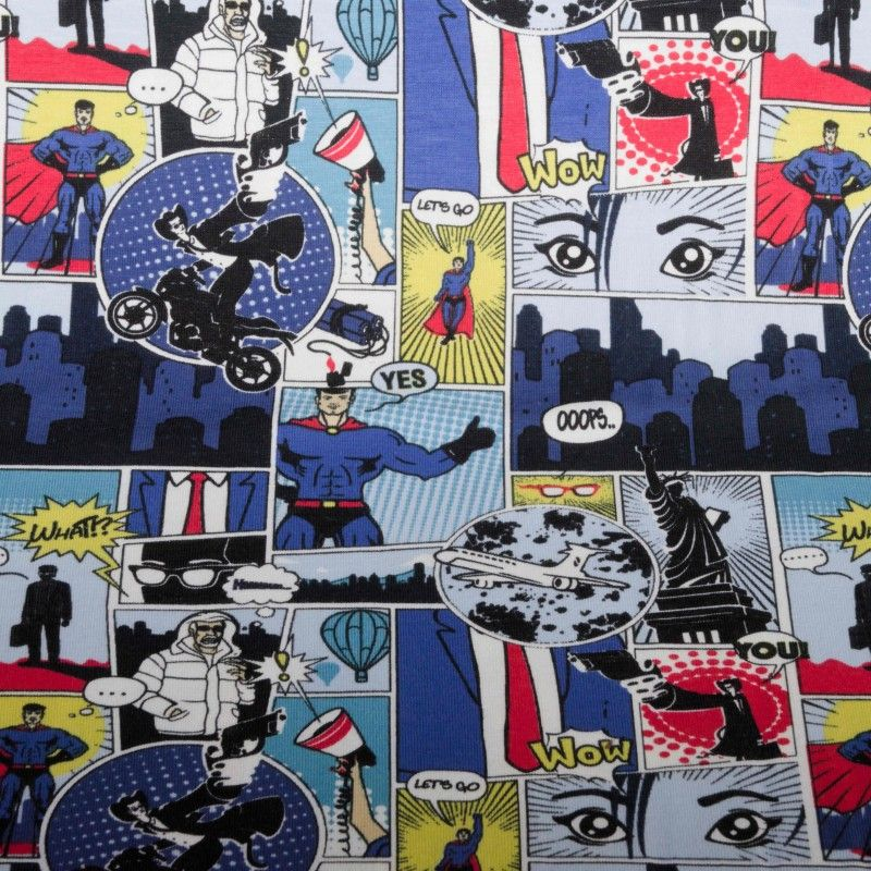 Tissu jersey bande-dessinée X10cm - bleu  - 1Tissu jersey bande dessinée - bleu 95% coton 5% élasthanne Laize d'1m50 - certifié
