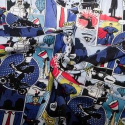 Tissu jersey bande-dessinée X10cm - bleu  - 2Tissu jersey bande dessinée - bleu 95% coton 5% élasthanne Laize d'1m50 - certifié