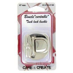 Fermoir boucle cartable 47mm argent  - 1Fermoir boucle pour sac, cartable de couleur argent dimension 47mm