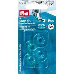 Canettes plastique pour boîtier double Prym Prym - 14 canettes spéciales boîtier double Dimension de la canette : 21.9mm de larg
