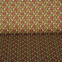 Tissu coton mille fleurs X10cm - bronze/corail  - 1Tissucotonmille fleurs -bronze et corail 100% coton - certifié OekoTex Lai