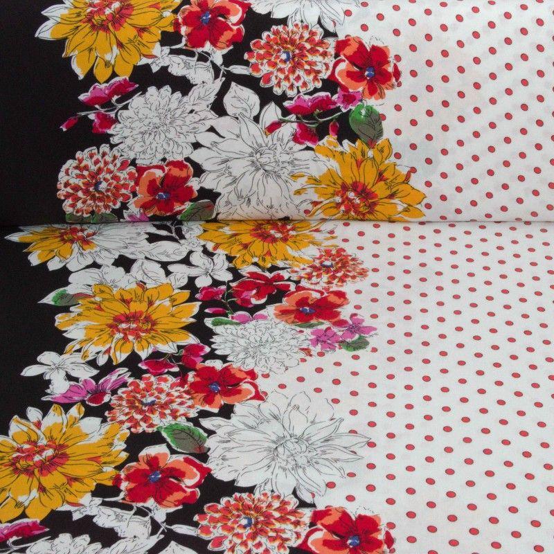 Tissu viscose Fleurs et pois X10cm - jaune  - 1Tissuviscose fleurs et pois avec base - jaune 100% viscose Laize d'1m45 Le tissu