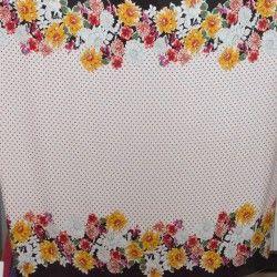 Tissu viscose Fleurs et pois X10cm - jaune  - 2Tissuviscose fleurs et pois avec base - jaune 100% viscose Laize d'1m45 Le tissu