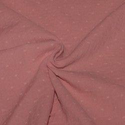Tissu coton triple gaze plumetis rose poudré