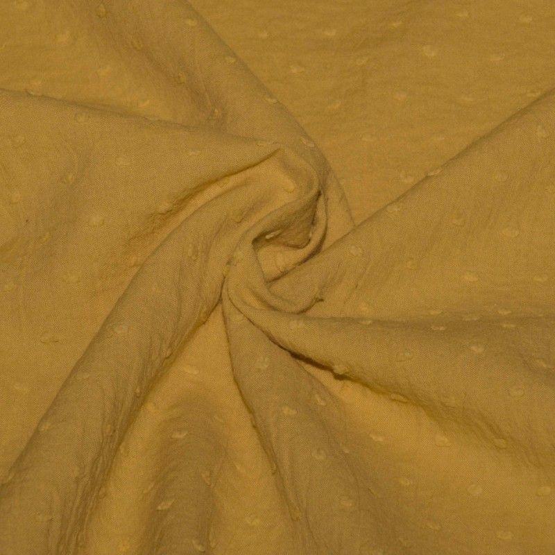 Tissu coton plumetis  X10cm - moutarde  - 1Plumetis triple gaze -moutarde 100%coton Laize d'1m40 Certifié Oeko-Tex Le tissu es