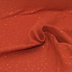 Tissu Double gaze coton pois dorés X10cm- Terracotta  - 1Double Gaze à pois dorés en relief -terracotta 100%coton certifié Oeko
