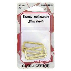 Boucles coulissantes 30mm (x2 pièces) - doré  - 1Boucles coulissantes , de couleuror Pour une sangle de 30mm de largeAccessoire