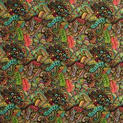 Simili cuir Cachemire X10cm - multicolore  - 2Simili cuir ameublement - cachemire multicolore 86% PVC, 10% Polyester, 4% Polyuré