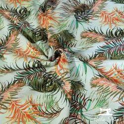 Tissu viscose et lin Feuilles de palmier X10cm - orange  - 1Tissu feuilles de palmier - orange 70% viscose - 30% lin Laize d'1m5