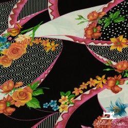 Tissu viscose foulard fleurs X10cm - orange  - 2Tissu foulard fleurs - orange 100% viscose Raccord : 37cm Laize d'1m45 Le tissu