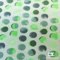 Tissu polyester cercles X10cm - vert et gris  - 2Tissupolyester cercles - vert et gris Touché soie 96% polyester, 4% élasthanne