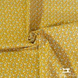 Tissu coton mille fleurs X10cm - ocre/paon  - 1Tissucoton millefleurs - ocre et paon 100% coton - certifié OekoTex Laize d'1m5