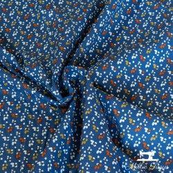 Tissu coton mille fleurs X10cm - marine/ocre  - 1Tissucoton millefleurs - marine et ocre 100% coton - certifié OekoTex Laize d