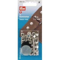 Rivets Ø9mm Prym - nickel Prym - 1Rivets à frapper au marteau, pour tissu épais Diamètre : 9mm Longueur : 4-6 mm