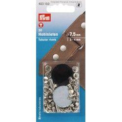 Rivets Ø7,5mm Prym - nickel Prym - 1Rivets à frapper au marteau, pour tissu épais Diamètre : 7,5mm Longueur : 3-4mm