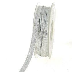 Passepoil lamé argent  - 2Passepoil laméargenté 70% polyester , 30% lamé métallisé Largeur : 10 mm 1 unité = 0m50 ; pour plusie