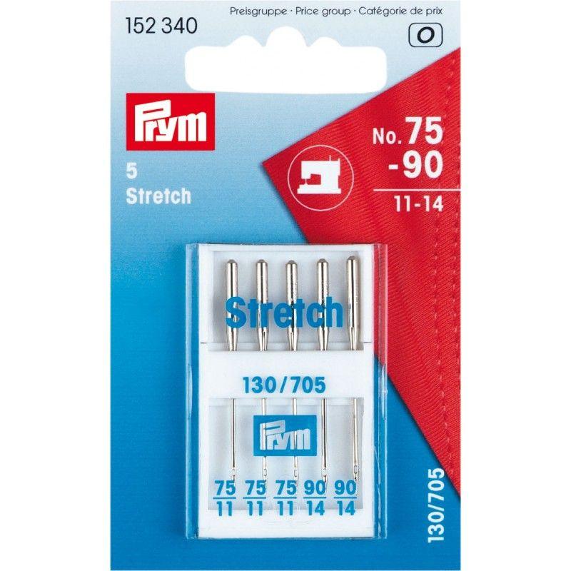 Aiguilles machine stretch n°75-90 Prym Prym - 1Assortiment de 5 aiguilles spéciales tissus stretch pour machine à coudre n°75 -