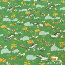 Tissu coton savane kid  X10cm - vert  - 1Tissucoton savane kid - vert 100% coton - certifié OekoTex Raccord : 22 cm Laize d'1m5