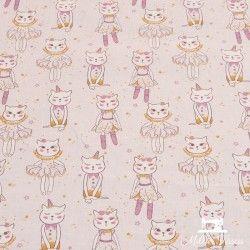 Tissu coton Chattes douceur  X10cm - rose et gold  - 1Tissucoton Chattes douceur -rose et doré 100% coton - certifié OekoTex H