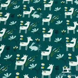 Tissu coton Faola X10cm - Paon  - 1TissucotonFaon et lapin - couleur paon 100% coton - certifié OekoTex Hauteur du motif:6,3c