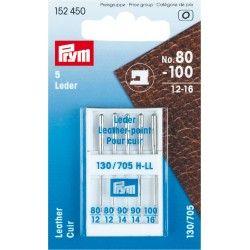 Aiguilles machine cuir n°80-100 Prym Prym - 1Assortiment de 5 aiguilles spéciales cuir n°80 - n°90 - n°100 Aiguilles standard, s