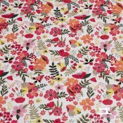 Tissu coton Blend Floral Pets fleurs X10cm - Rouge Blend Fabrics - 1TissucotonFloral Pets Fleurs - rouge 100% coton Raccord:
