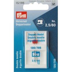 Aiguille machine double universelle n°80 - 2.5mm Prym Prym - 1Aiguille double universelle n°80 avec un écartement de 2.5mm entre